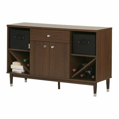 South Shore Olly 1 Drawer Storage Cabinet in Brown Walnut
