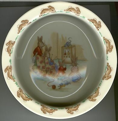 Royal Doulton Bunnykins Rimmed Baby Plate ~ TV Time ~ Golden Jubilee ~ Bunnies