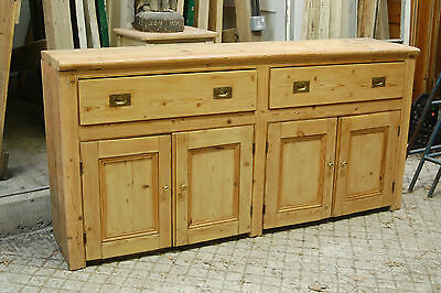 A LARGE DOUBLE SIZE RUSTIC RECLAIMED STRIPPED PINE DRESSER BASE ref 719