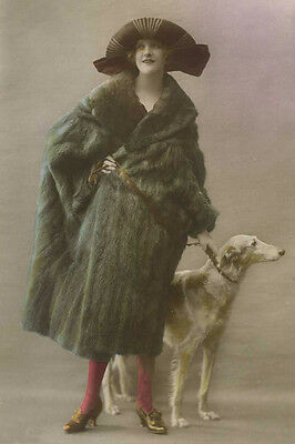 Borzoi Dog & 1920's Flapper Lady Antique Photo.  ~  LARGE New Blank Note Cards