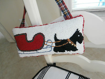 Primitive Punch Needle Cupboard Hanging Pillow W/scottie Dog Pulling  Sled