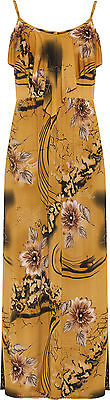 Plus Womens Strappy Floral Print Frill Maxi Dress Ladies Layered Long Full New