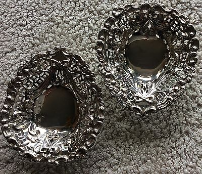 Antique - 1895 -  Pair Solid Silver Hallmarked Don Bon Dishes