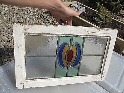 Vintage Stained Glass Window Panel Architectural Antique Old Art Deco / Nouveau