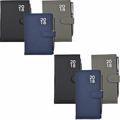 A7 Diary 2018 Leather Feel Pocket Week Day to Page Slimline Journal Pen Free