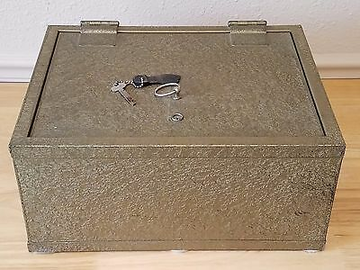 Victor Fire Safe Antique Gold Flake Treasure Chest Lockbox w/ Key 1700 Degree
