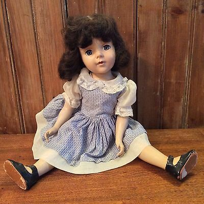 "Antique vintage rare 17"" jointed doll original clothing hair blinking eyes"