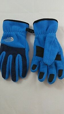North Face Youth Kids Boys Gloves Blue Size Small FREE SHIPPING