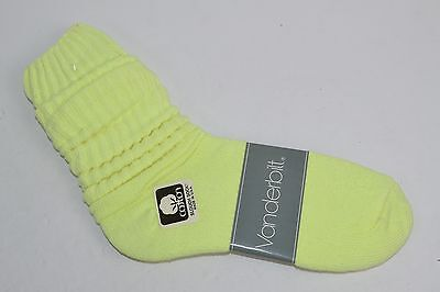 VINTAGE 1980's 1 Pair Cotton SLOUCH Baggy Socks Neon Yellow - NEW OLD STOCK