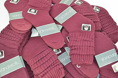 Vintage New Lot of 24 Pairs Cotton SLOUCH Baggy Socks Burgundy - 1980's