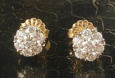 Vintage JABEL 18k Gold .66Ct Diamond Cluster Stud Earrings~6.3mm~AMAZING SPARKLE