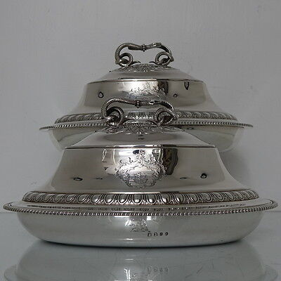 18th Century Antique Pair of George III Britannia Silver Oval  Dishes London 177