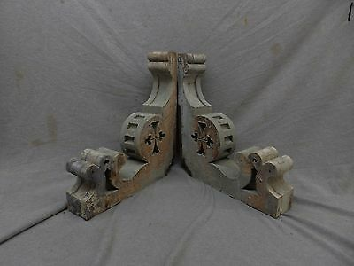 Antique Pair Wood Corbels Shabby Cottage Chic Vintage Rustic 17x16 137-17P