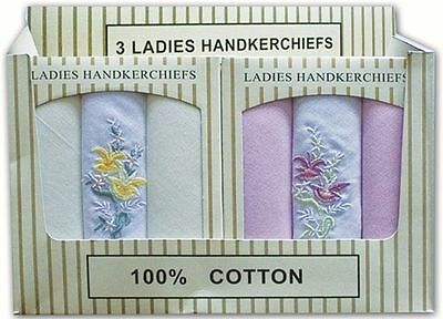 New Women / Ladies 100 % Cotton Floral Embroidered HandkerChief 3 pack Gift box