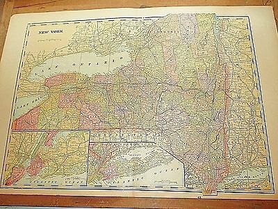 Large Antique 1896 Map of NEW YORK w/ Colored Counties - New York City & Long Is