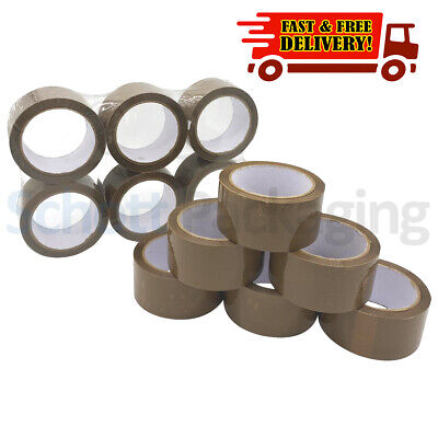 12 Rolls of LOW NOISE BROWN TAPE 48mm x 66M LONG LENGTH PACKING PARCEL TAPE