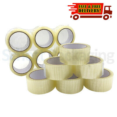 12 Rolls of LOW NOISE CLEAR TAPE 48mm x 66M LONG LENGTH PACKING PARCEL TAPE