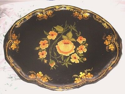 Antique Hand Painted Muted Yellow Roses & Gilt Rim Artwork Black Oval Tole Tray
