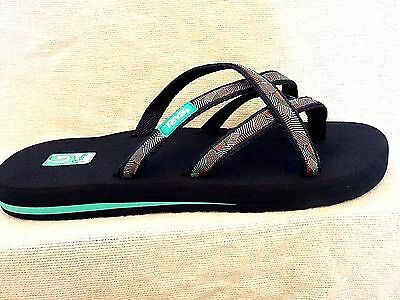 d1fc65e77 TEVA OLOWAHU Strappy Flip Flop Sandals Waterfall Navy MUSH Sole~NEW 6840