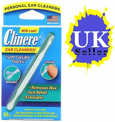 Clinere Ear Cleaners Removes Blocked Ear Wax Itch Relief Exfoliates 10 Count