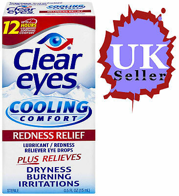 Clear Eyes Max Redness Relief Cooling Lubricating Eye Drops Dryness Burning 15Ml