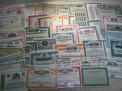 Large vintage lot of approx 50 railroad stock & bond certificates