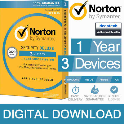 Norton Security Deluxe 2020 (3 Devices/1 Year) Internet Antivirus PC/Mac Licence