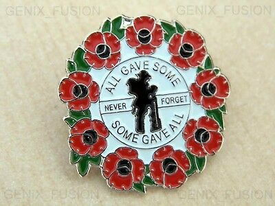All Gave Some, Some Gave All, Never Forget Poppy Enamel Lapel UK Pin Badge