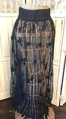 BOHO Sheer Mesh Floral Embroidered Skirt Gypsy Junkies for Free People Black S/M