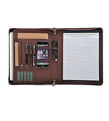 iCarryalls Design Leather Organizer Zip Portfolio Brown New