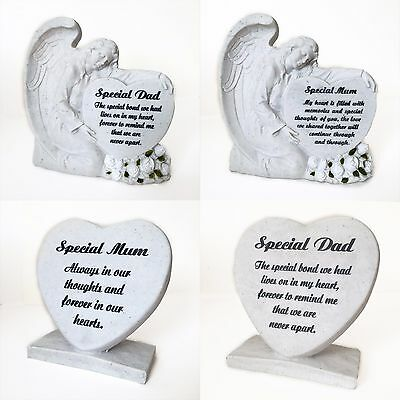 Stone Effect Grave Ornaments, Engraved Angel & Heart Tribute Head Decoration
