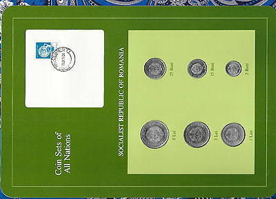 Coin Sets of All Nations Romania 1966 - 1982 UNC Blue Pottery Stamp w/card