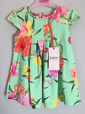 New With Tags Baby Girls Designer Ted Baker Bright Floral Print Summer Dress🌺
