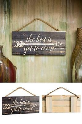 Rustic Wood Sign Home Decor Hanging Arrow Bedroom Living Room Rope Handmade New
