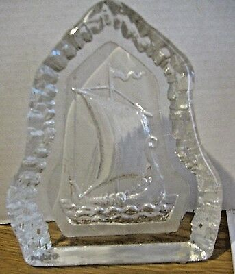 Nybro Sweden Frosted Crystal Paperweight Sculpture - Viking Sailing Ship