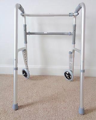 Homcom Walker Frame Folding Lightweight Mobility Walking Aid with Front Wheels
