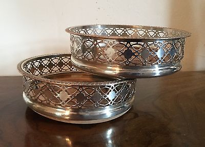 Pair Antique Old Sheffield Silver Plate on Copper Wine Bottle Decanter Coasters