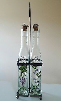 🍇OIL AND VINEGAR Cruet Set, with Cork Stoppers, Grape Leaf🍇