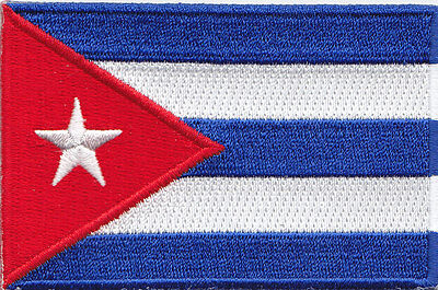 "CUBA FLAG 3 1/2""  - FLAG OF CUBA - SYMBOL - CUBAN -  Iron On Embroidered Patch"