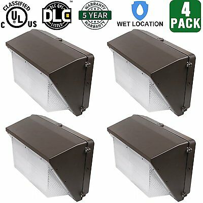 4 Pack 70W LED Wall Pack Fixture 350-400W HPS/HID Replacement DLC & UL Listed