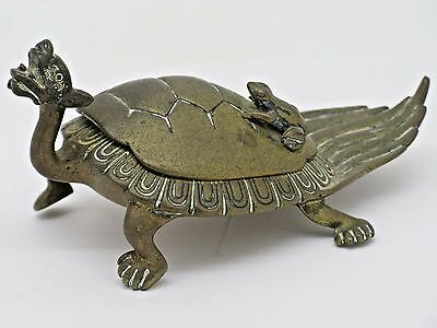 Rare Bronze Dragon Turtle With Frog Tea Caddy
