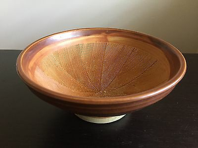 Fine Old Japanese Reddish Brown Pottery Chawan Bowl Simple Lined Design NR