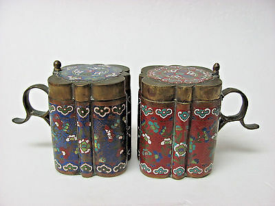 Pair of Antique Chinese Enamel on Brass Covered Cups