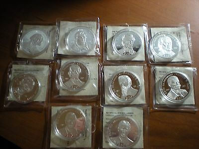 10 Liberia 2000 20 Gram 999 Fine Silver Proof $20 US Presidents Coins