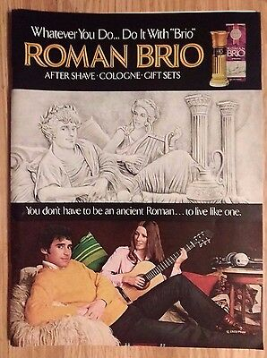 1973 Print Ad ROMAN BRIO Men's Aftershave Cologne Fragrance ~ Live Like Ancients