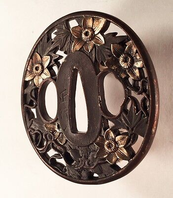 Antique brass Japanese tsuba, floral design