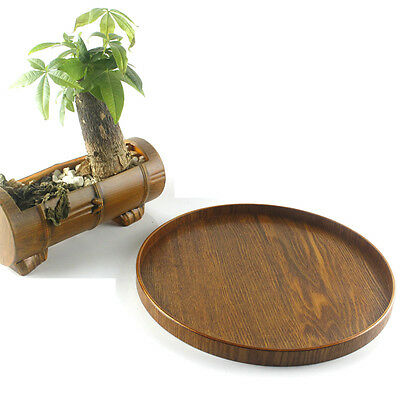 Round Wooden Plate Natural Wood Serving Tray Tea Food Server Dishes Platter 33cm