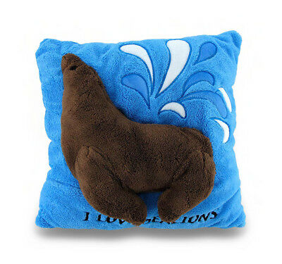 I Love Sea Lions Soft Blue and Brown Fuzzy 2D Decorative Throw Pillow 14in.