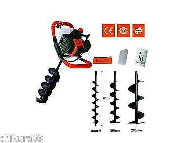 52cc 2-stroke Ground Drill Earth Auger Hole Digger Garden Tool with 200mm bit