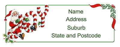 30 Christmas Personalised Quality Plus Adhesive Address Labels - Joyous Santa